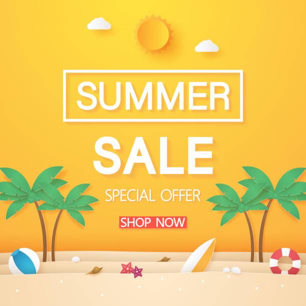 ilustraciones, imágenes clip art, dibujos animados e iconos de stock de venta de verano, playa con árbol de coco y cosas, estilo de arte de papel - verano