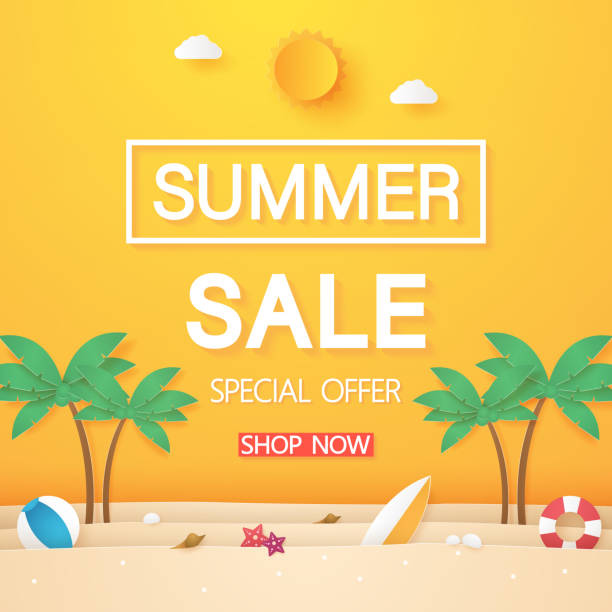 Summer sale , beach with coconut tree and stuff , paper art style Summer sale , beach with coconut tree and stuff , paper art style summer stock illustrations