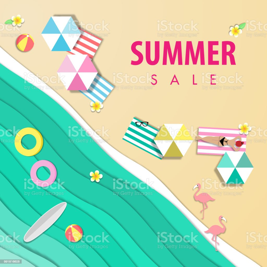 summer sale beautiful beach background, top view with paper art style vector vector art illustration