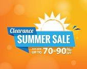 Summer Sale bule tag  heading design on orange for banner or poster. Sale and Discounts Concept. Vector illustration.