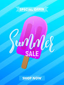 Summer sale card, advertisement, banner, poster etc. Background with lettering, trendy stripes and ice cream