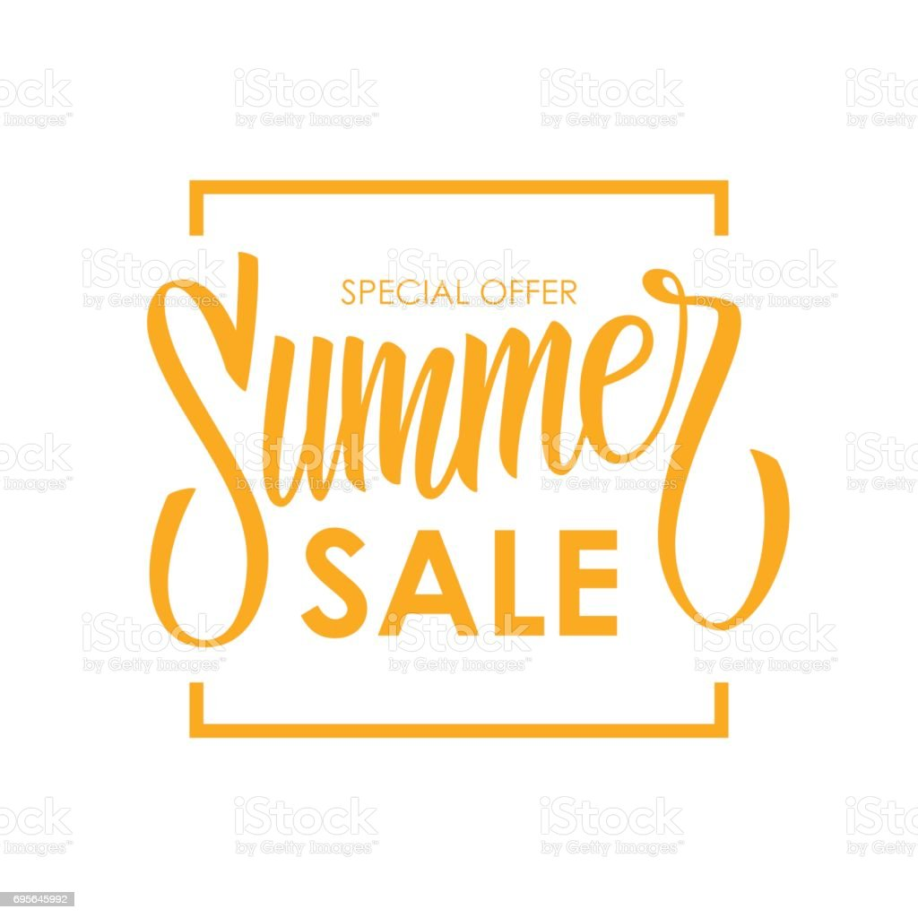 Summer Sale card template. Hand drawn lettering. Calligraphic element for your design.