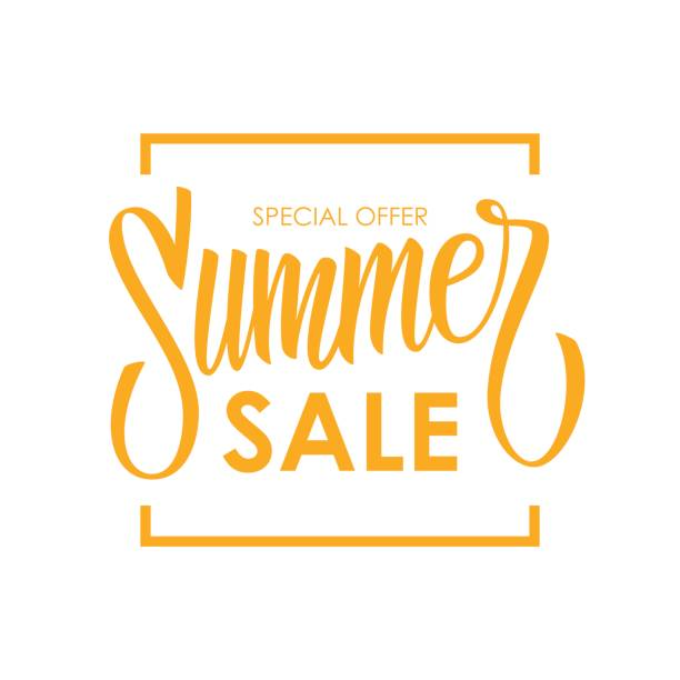 summer sale card template. hand drawn lettering. calligraphic element for your design. - sales stock illustrations
