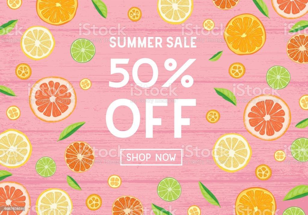 Summer sale citrus fruit banner vector art illustration