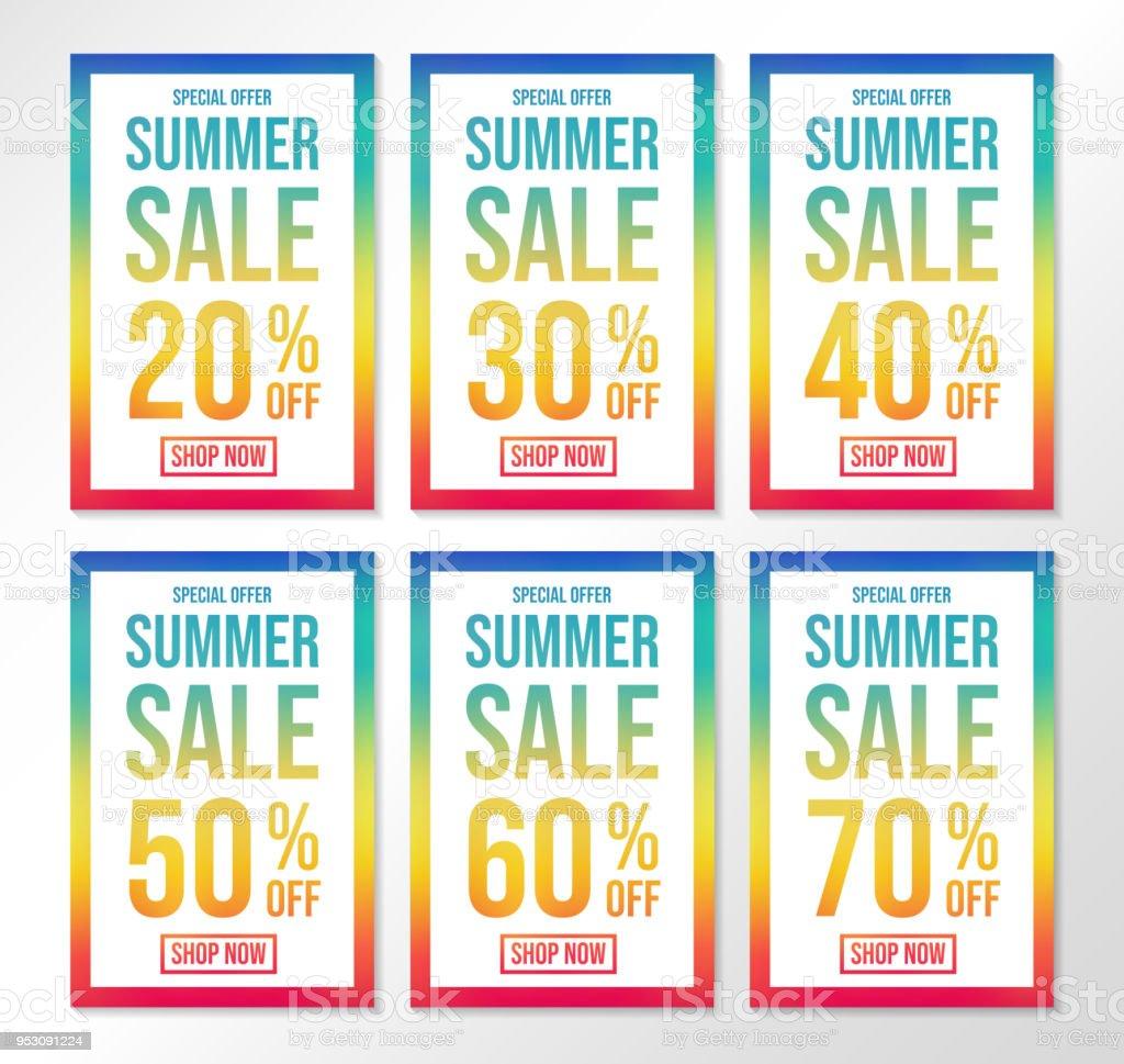 af54e38e61ab24 Zomer Sale - collectie van kleurrijke posters. Vector. royalty free zomer  sale collectie van