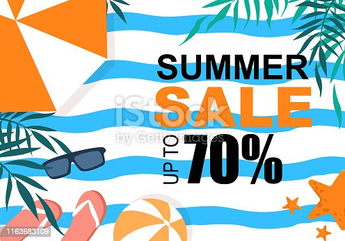 Summer Sale Colorful Banner with Palm Tree Leaves, Sun Umbrella, Flip Flops, Beach Ball, Sunglasses on Striped Wavy Background. Advertising Poster for Summertime Vacation. Cartoon Vector Illustration
