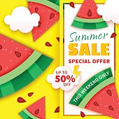 Summer sale colorful banner with watermelon slices. Special offer