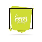 Summer sale concept. Origami style sticker and banner tamplate.