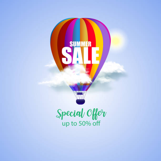 3d summer sale concept  with hot air balloon in blue sky. vector illustration. - hot air balloon stock illustrations