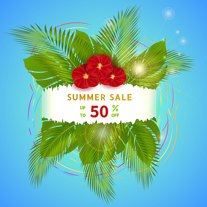 Summer sale, creative discount banner with up to 50 per cent off text, with palm leaves, red flowers and sun on blue background.