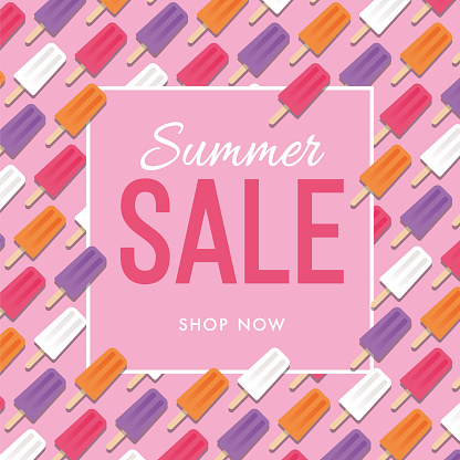 Summer Sale design for advertising, banners, leaflets and flyers. Popsicle Seamless Pattern.