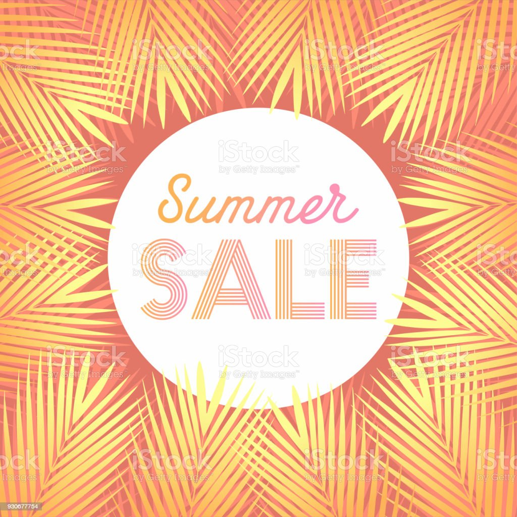 Summer Sale Design Layout For Banner Advertisement Background With Trendy Stripes Coconut Palm