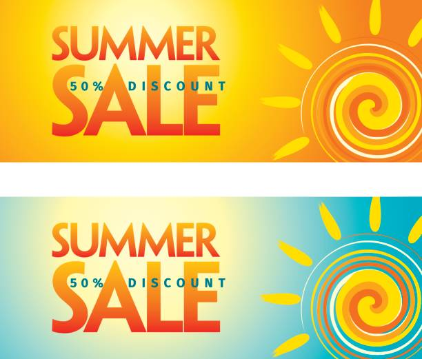 summer sale design template - summer background stock illustrations
