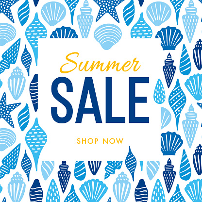 Summer sale design template with Seashells. Design for advertising, banners, leaflets and flyers.