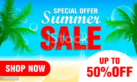 istock Summer sale design with 50% discount for summer holiday. Special offer summer sale 1250081976