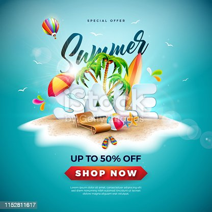 Summer Sale Design with Beach Ball and Exotic Palm Tree on Tropical Island Background. Vector Special Offer Illustration with Holiday Elements for Coupon, Voucher, Banner, Flyer, Promotional Poster, Invitation or greeting card