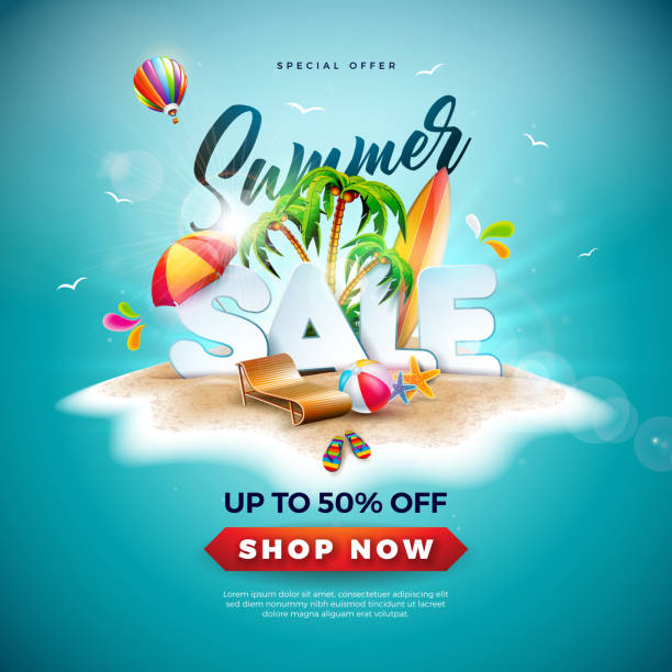 summer sale design with beach ball and exotic palm tree on tropical island background. vector special offer illustration with holiday elements for coupon, voucher, banner, flyer, promotional poster, invitation or greeting card. - summer background stock illustrations