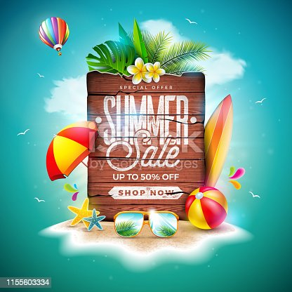 Summer Sale Design with Exotic Palm Leaves and Vintage Wood Board on Tropical Island Background. Vector Holiday Special Offer Illustration with Beach Ball and Flower for Coupon, Voucher, Banner, Flyer, Promotional Poster, Invitation or greeting card