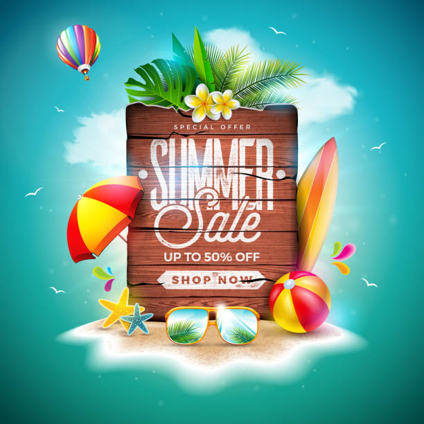 summer sale design with exotic palm leaves and vintage wood board on tropical island background. vector holiday special offer illustration with beach ball and flower for coupon, voucher, banner, flyer, promotional poster, invitation or greeting card. - summer background stock illustrations