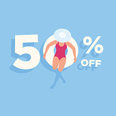 This illustration of a figure relaxing on a pool or beach inflatable would make an ideal design element for your summer sale. The illustrator 10 vector file can be coloured and customized to suit your needs and scaled infinitely without any loss of quality. Please also take a look at other illustrations in this range.