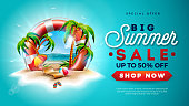 Summer Sale Design with Lifebelt and Exotic Palm Trees on Tropical Island Background. Vector Special Offer Illustration with Flower, Beach Ball, Sunshade and Blue Ocean Landscape for Coupon, Voucher, Banner, Flyer, Promotional Poster, Invitation or greeting card