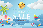 Summer sale design with paper cut beach island with summer elements  in blue sky background.Vector illustration template.