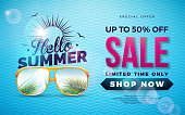 Summer Sale Design with Typography Letter and Exotic Palm Leaves in Sun Glasses on Blue Background. Tropical Vector Special Offer Illustration with Coupon, Voucher, Banner, Flyer, Promotional Poster, Invitation or greeting card