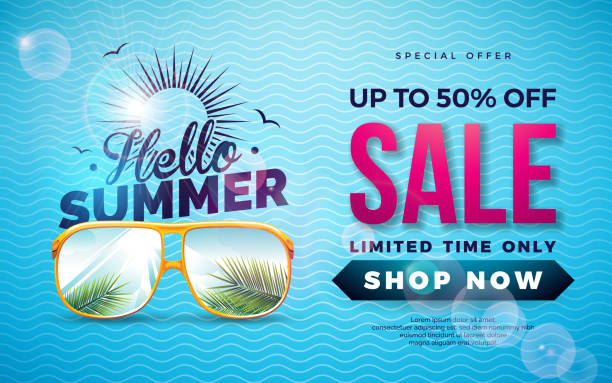 summer sale design with typography letter and exotic palm leaves in sun glasses on blue background. tropical vector special offer illustration with coupon, voucher, banner, flyer, promotional poster, invitation or greeting card. - summer background stock illustrations