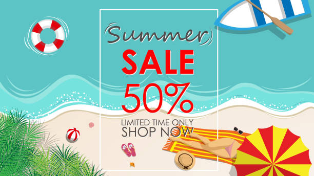 summer sale discount 50 percent off template banner with beach accessories background. vector summer sale background for banner, poster, flyer, card, postcard, cover, brochure for promote , marketing - summer background stock illustrations