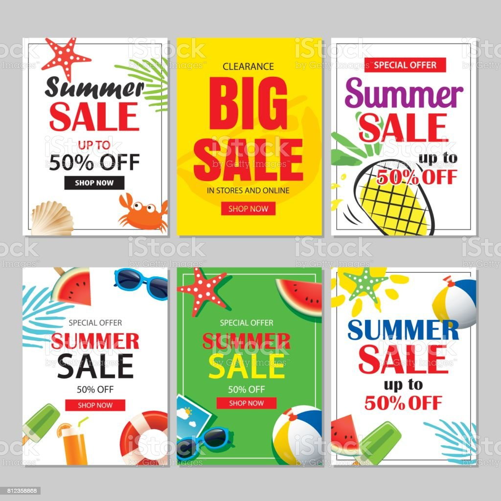 summer sale emails and banners mobile templates vector illustrations