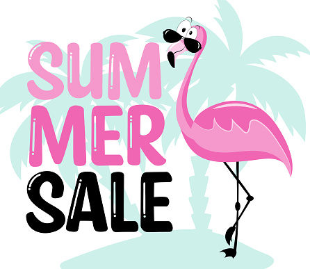 Summer Sale- Flamingo and palm tree. Vector illustration