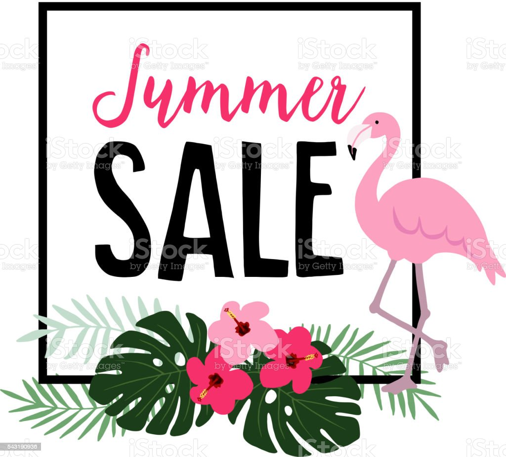 Summer sale. Flamingo bird with palm leaves, hibiscus flowers. vector art illustration