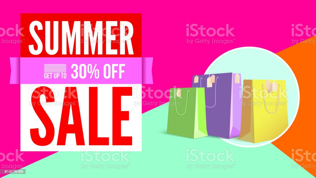 Summer sale flat design poster. Selling ad banner on tricolor flat background with shopping bags. Summer super vacation discount Sale poster, get up to thirty percent, flat geometric design vector art illustration