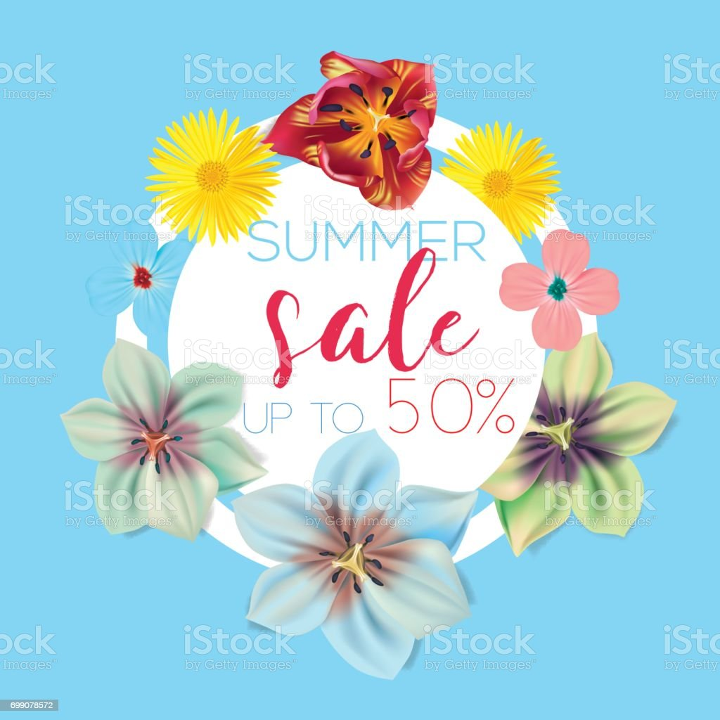 Summer sale flower banner with text on blue background with summer sale flower banner with text on blue background with beautiful flowers artistic design vector kristyandbryce Images