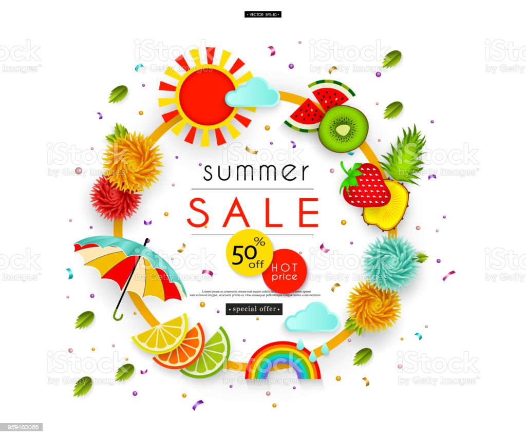 Summer Sale Flowers, umbrella, leaves, clouds, rainbow, sun, fruit Abstract banner for advertising, banners, posters, flyers, leaflets, signboards Vector illustration vector art illustration