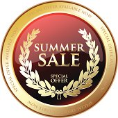 Summer sale gold shield with a laurel.