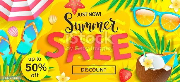 Summer sale, just now discount banner. Promote up to 50 per cent price off. Invitation for new mid and end of season offers. Template for your design in shops, stores, retails. Vector illustration.