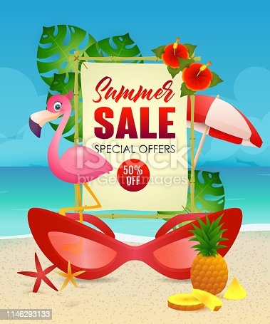 Summer Sale lettering, flamingo and woman sunglasses. Summer offer or sale advertising design. Handwritten and typed text, calligraphy. For leaflets, brochures, invitations, posters or banners.