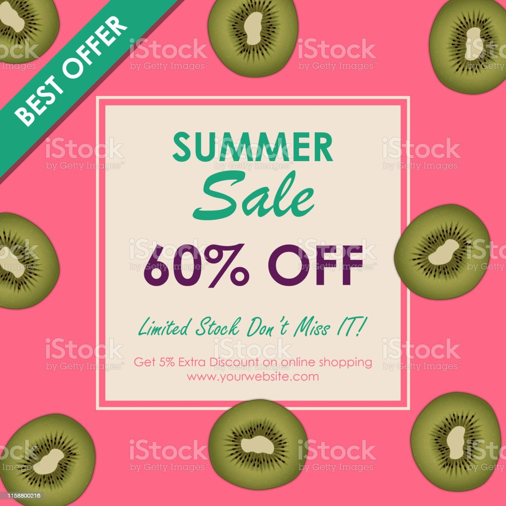 Summer Sale Offers 60 Off Summer Sale Banner Template Promo Banner For Your Seasonal Design Stock Illustration Download Image Now Istock