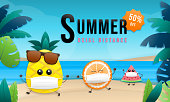 Summer sale online social distance design with tropical beach Colorful background layout banners. pineapple, orange, and watermelon wearing mask face. Brown sunglasses and palm leaf.Vector illustration template.