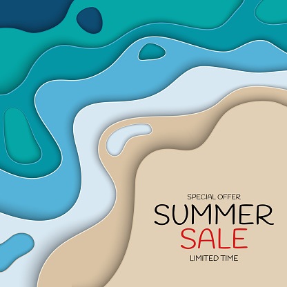 Summer Sale paper Cut Template Background. Special offer vector illustration