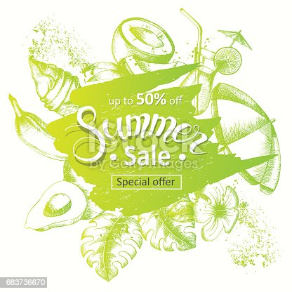 istock Summer sale poster. Special offer, up to 50% off. Hand drawn elements, lettering. 683736670