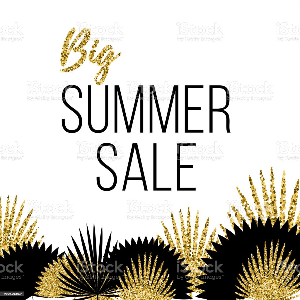 Summer sale Poster template with palm leaves Vector illustration summer sale poster template with palm leaves vector illustration - arte vetorial de stock e mais imagens de abstrato royalty-free
