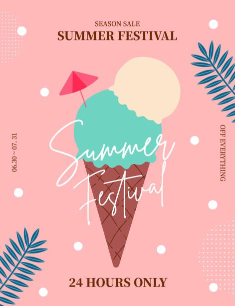 夏セールポスター、ウェブバナー、ポップアップ、バナーテンプレートデザイン。季節割引ベクトルイラスト。 - アイスクリーム点のイラスト素材/クリップアート素材/マンガ素材/アイコン素材