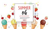 Summer sale poster with ice cream