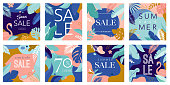 Summer Sale poster with tropic leaves and flamingo, banner and background in modern flat style. Vector illustration templates