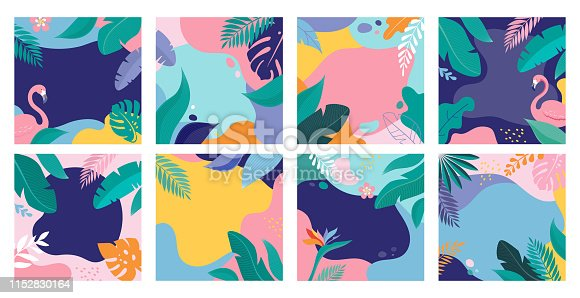 Summer Sale posters with tropic leaves and flamingo, banner and background in modern flat style. Vector illustration