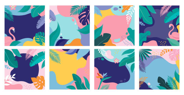 Summer Sale posters with tropic leaves and flamingo, banner and background in modern flat style. Vector illustration Summer Sale posters with tropic leaves and flamingo, banner and background in modern flat style. Vector illustration pool party stock illustrations