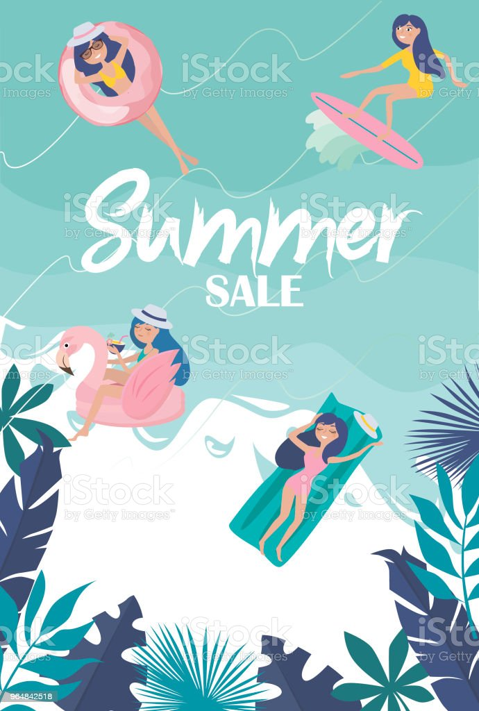Summer sale - promotion poster illustration. Summer poster with relaxing girl on the beach royalty-free summer sale promotion poster illustration summer poster with relaxing girl on the beach stock vector art & more images of adult