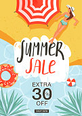 Summer sale promotion poster template. Beautiful woman sunbathing, beach umbrella, inflatable rings, sea surface, creative lettering and tropical leaves for seasonal sales. Vector illustration for discount offer.